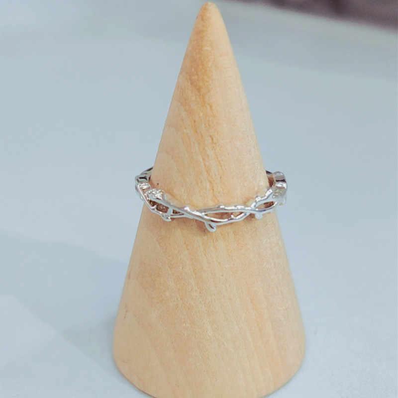 ANENJERY Dainty สาขา Brambles เปิดแหวน 925 เงินสเตอร์ลิงแหวนสำหรับงานแต่งงานครบรอบเครื่องประดับ S-R518