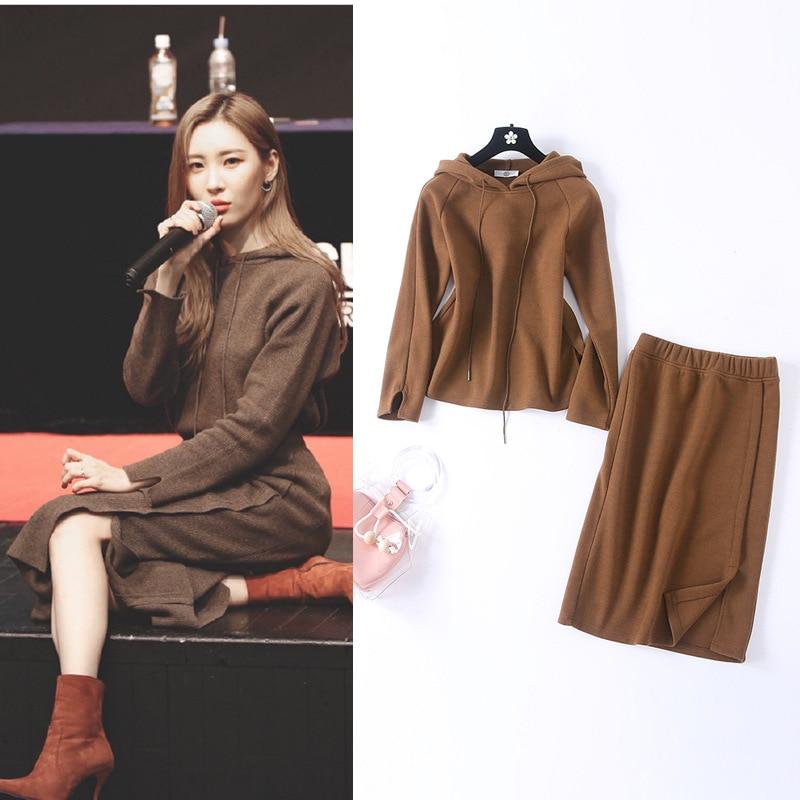 2019 Autumn New Style WOMEN'S Dress Li Xuan Beauty Celebrity Style Hooded Drawstring Tops + Sexy Slit Skirt Retro Set