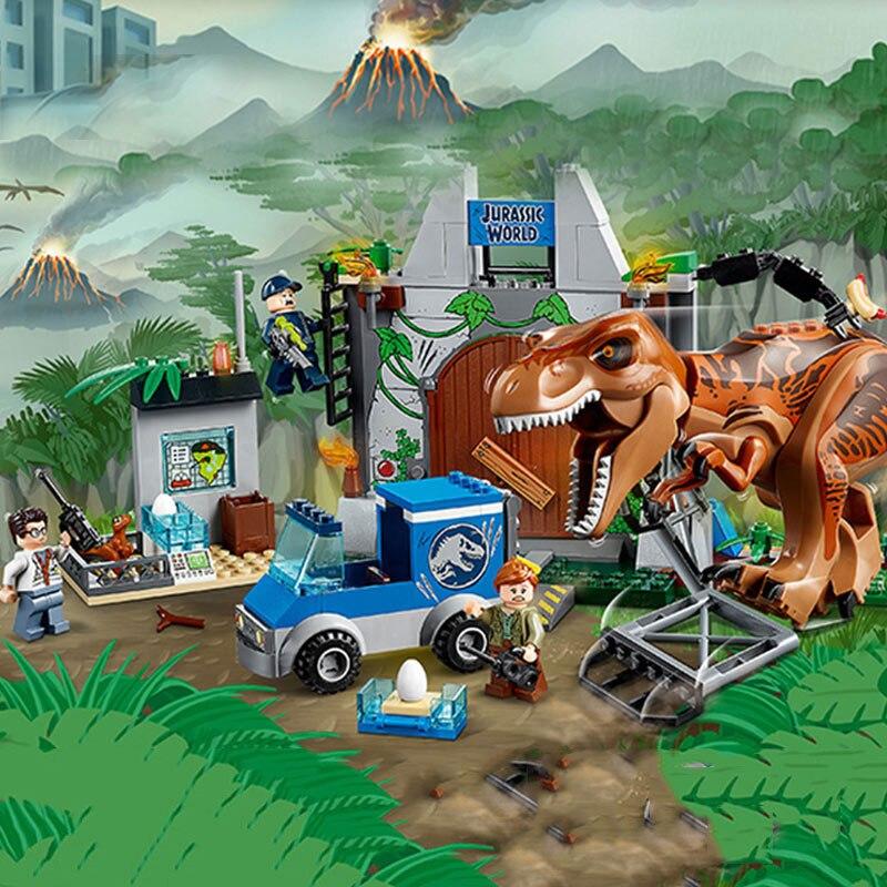 Galleria fotografica Juniors Jurassic World 2 Tyrannosaurus <font><b>Rex</b></font> Breakout Mattoni Building Block Giocattoli Compatibile con Legoinglys Jurassic Park Dinosauro