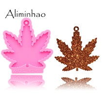 DY0155 Shiny Maple leaf Leaves Silicone Molds For DIY Truck key ring epoxy resin Mold Craft custom keychain cheap Aliminhao Moulds CE EU LFGB Eco-Friendly Stocked Random 8 2cm*0 8cm mould for Keychains Suitable for polymer clay Have a hole