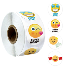 500 Pcs Yellow Smiley Face Stickers with Personalized 4 Cute Cartoon Design reward Stickers Scrapbooking Stationery Sticker Roll 500 pcs roll zoo cartoon animal stickers 8 design stickers for children s classic toys stickers school reward kids stickers