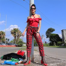 New Retro Punk Red Plaid Checkered Female Pants High Autumn Loose Streetwear Pencil Trousers