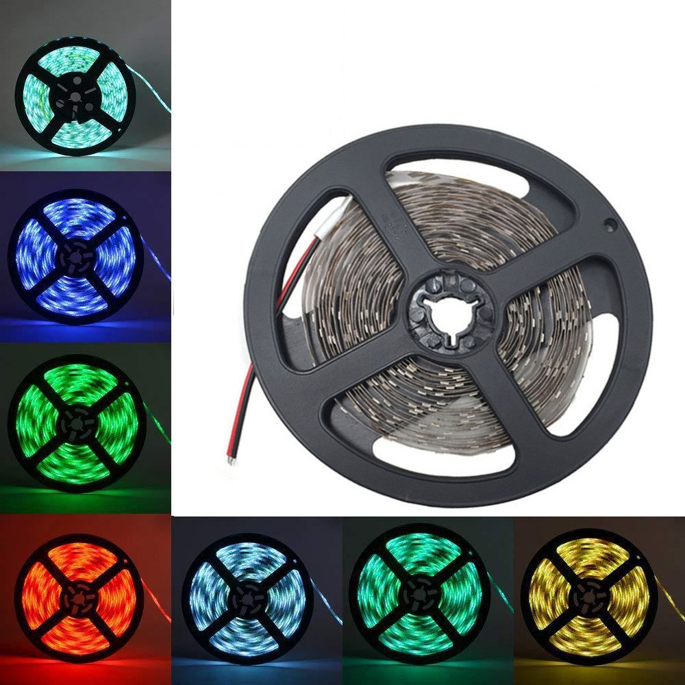 LED Strip Light 5V/12V 1M 5M 10M SMD3528 60LEDs/M Warm Cool White Green Blue Red Ribbon Ceiling Cabinet Christmas Day Lighting