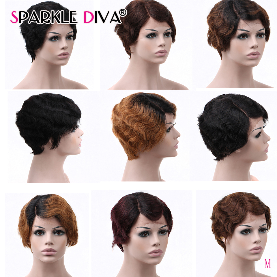 Sparkle Diva Human Hair Wigs For Black Women Pixie Cut Wig Brazilian U Part Lace Wigs Natural Wavy Short Human Hair Wigs Remy