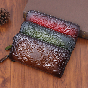 Genuine Leather Women Wallet Long Clutch Handy Bag Printing Rose flower Female Lady Card Retro Money Clips Purse(China)