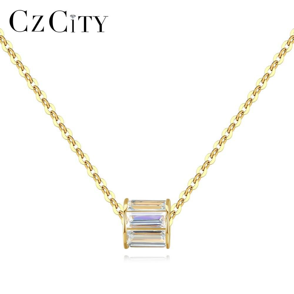 CZCITY véritable solide 14K or cylindrique pendentif collier pour les femmes avec brillant CZ charmant chaîne tour de cou bijoux fins AU585 N14131