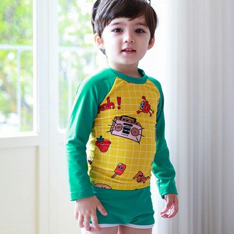 Korean-style Children Two-piece Swimsuits BOY'S Baby Long Sleeve Sun-resistant Diving Suit Sun-resistant