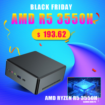 TOPTON Cheapest Mini Pc AMD Ryzen R5 3550H R7 2700U Vega Graphic 2*DDR4 Gaming PC Computer Windows 10 4K HTPC HDMI2.0 DP TYPE-C