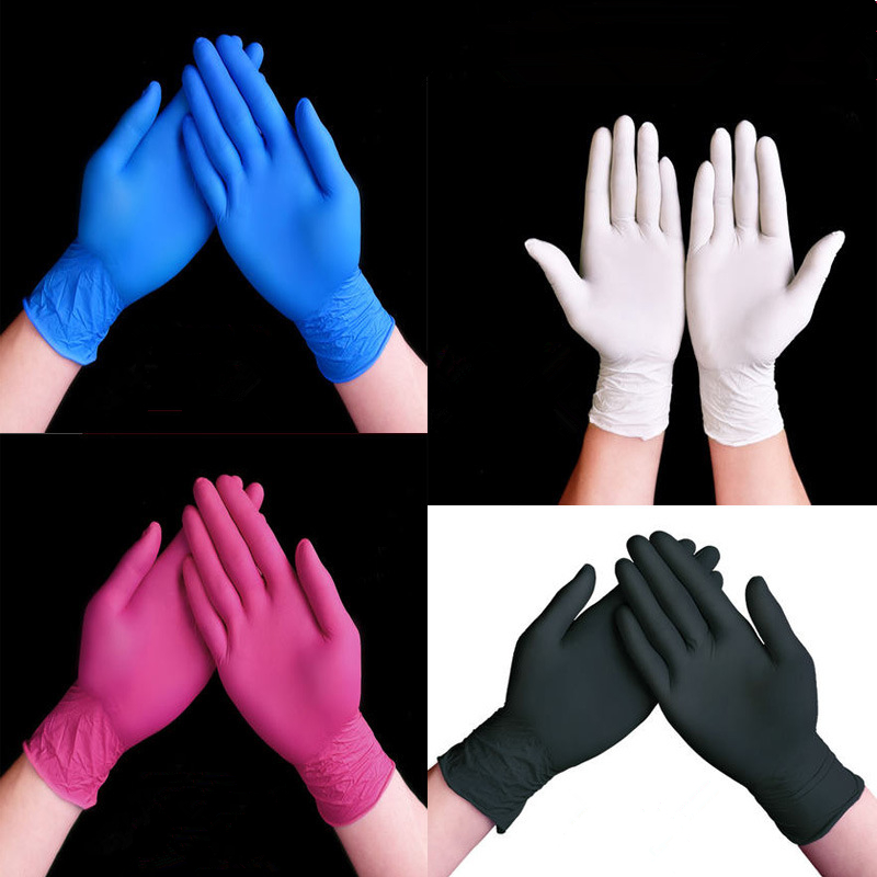 100PCS Disposable Black Nitrile Gloves Wholesale Rubber Latex Gloves Experiment Blue Nitrile Gloves Tattoo Beauty Hair Dye