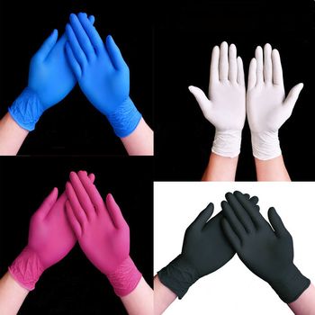 100PCS Disposable Black Nitrile Gloves Wholesale Rubber Latex Gloves Experiment Blue Nitrile Tattoo Beauty Hair Dye Gloves фото