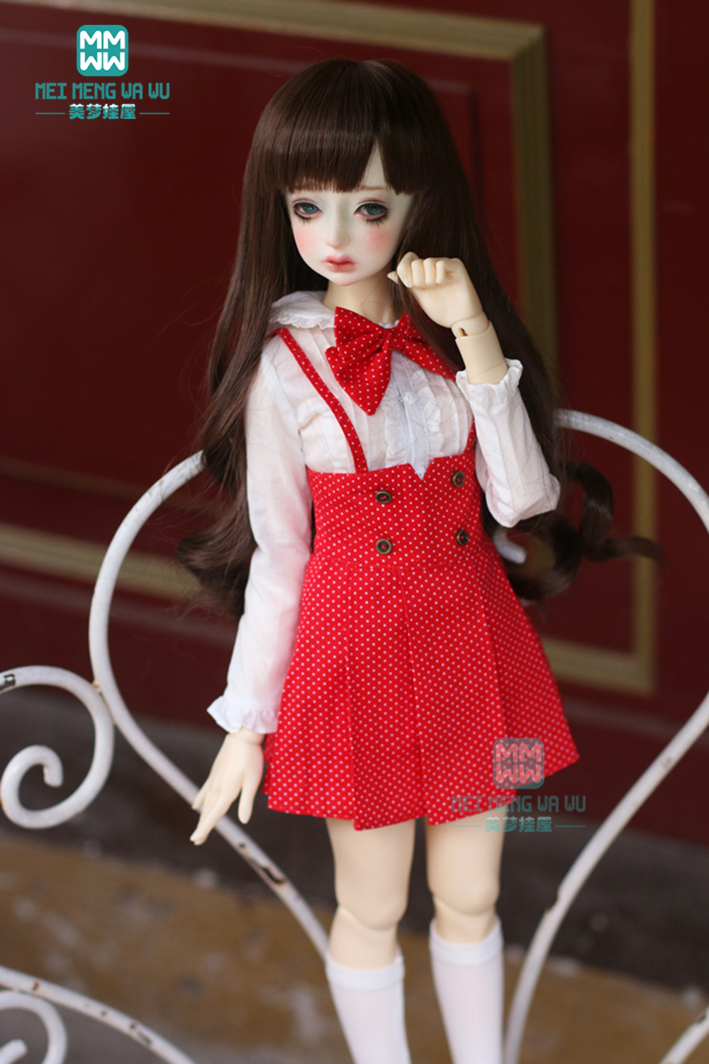 BJD Dolls Accessories Clothes For Dolls Fits 43-45cm 1/4 MSD GEM XAGADOLL High Collar T-shirt, Strap Dress, Shoes