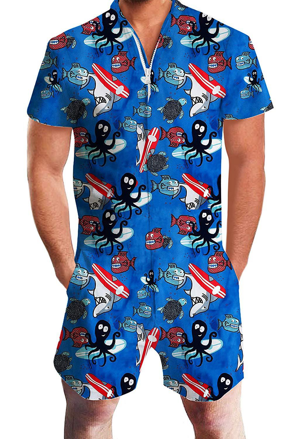 Europe And America Men's Summer Short-sleeved 3D One-piece Hawaii Men Casual Tracksuit Beach Men's
