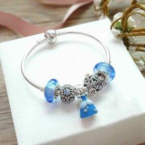 Высокое качество оригинальный 1:1 100% 925 пробы серебряный синий бисер платье принцессы браслет Бесплатная доставка