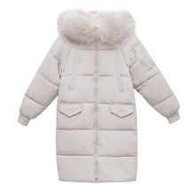 New 2019 High Quality Winter Jacket Women Plus Size Winter Coat Hooded Warm Fur Collar Cotton Padded Long Parkas For Women Sz38