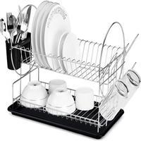 Escurridor de platos de 2 niveles, organizador de accesorios para fregadero de cocina, desagüe de cocina, negro, HWC