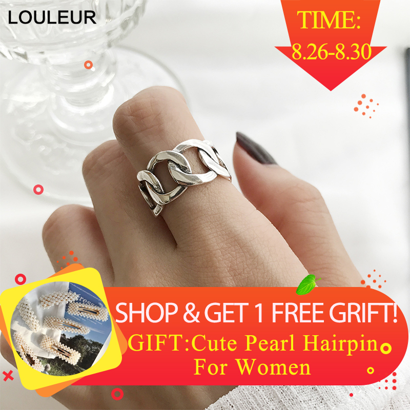 Louleur Rings Silver Fine-Jewelry Vintage Wide Women Strip Square Wild For New Gift Chain