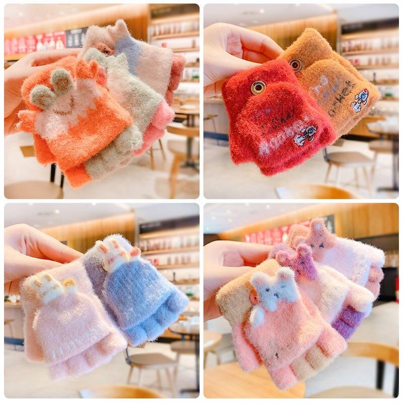 Nylon Gloves Mittens Half-Finger-Cover Animal Warm Girls Outdoor Winter Kids Children