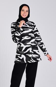 Minahill czarna biała tunika 3403G-01 tanie i dobre opinie Aplikacje Bluzki i koszule Octan Dla dorosłych
