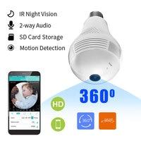 Mini cámara Wifi panorámica con bombilla 360, videocámara inteligente Espia, cámara de vídeo, juego de seguridad inalámbrica IP, videovigilancia