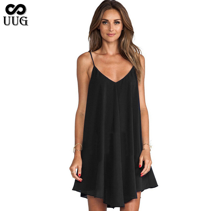 UUG 2020 Summer <font><b>Dress</b></font> Plus Size <font><b>6XL</b></font> <font><b>Sexy</b></font> Loose Suspender <font><b>Dress</b></font> Sleeveless Spaghetti Strap V-Neck Women <font><b>Dresses</b></font> Vestidos image