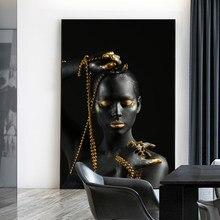 Moderne noir et doré femmes nues peinture à l'huile sur toile affiches et impressions scandinave mur Art photo pour salon