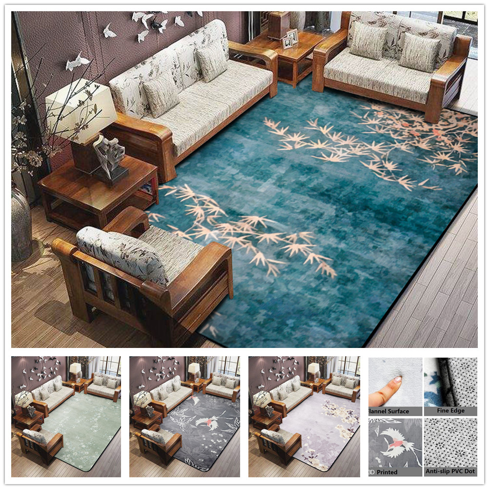3D Plum Flower Carpet for Parlor Crane Printed Living Room Area Rugs Skid Resistance Chinese Style Maple Floor Rugs for Bedroom