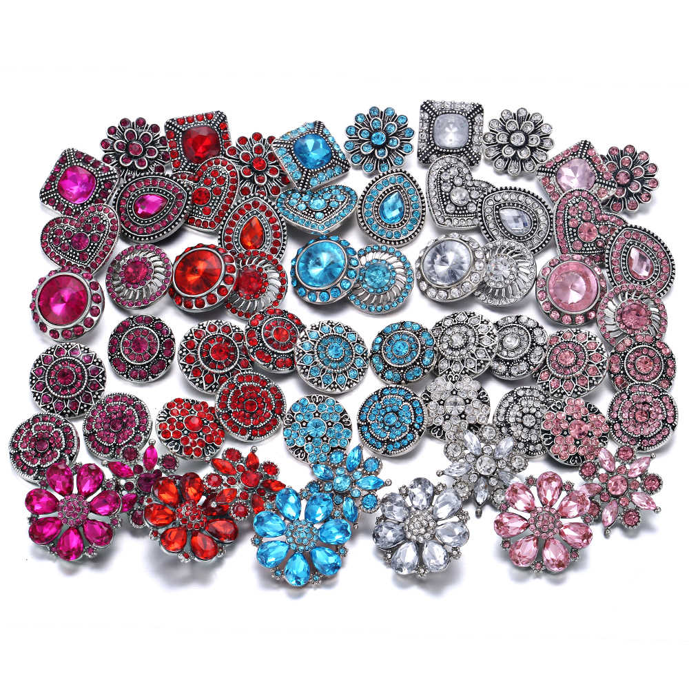 10pcs/lot 2019 New Snap Jewelry 18mm Snap Buttons Mixed Rose Red Crystal Rhinestone Flowers Metal Snaps for Snap Button Bracelet
