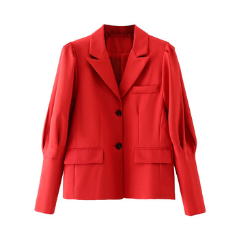 [EWQ] Vintage Gigot Sleeve Pockets Female Outerwear Chic Tops Women 2021 Spring Pleated Loose Puff Sleeves Red Blazer Coat 6W691 1