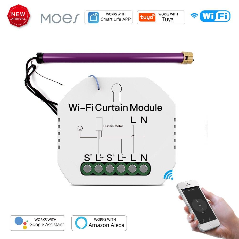 WiFi Mini Smart Curtain Switch Module Roller Blinds Shutter Motor Smart Life Tuya APP Remote Control Work with Alexa Google Home