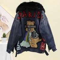 Winter Hot Drilling Cartoon Denim Jacket Women Real Rabbit hair Lining + Fox Fur Collar Thick Warm Jean Jacket Women Loose Coat