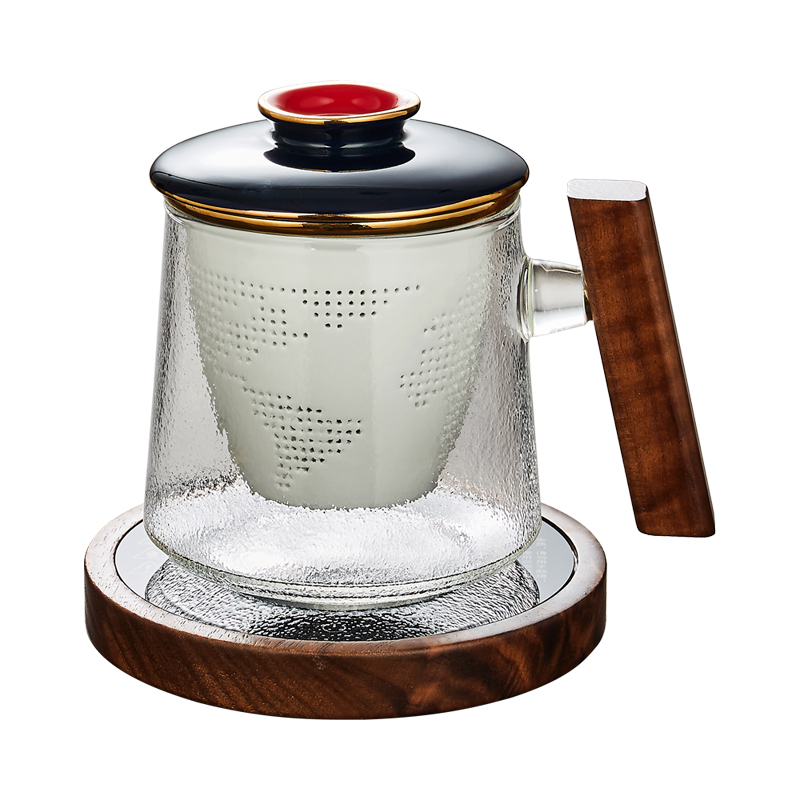 Office large capacity tea glass cup with wooden handle and ceramic Tea Infuser Filter teaware cups 210402-02