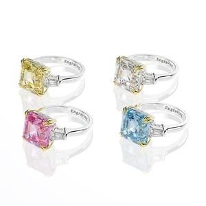 Image 2 - Wong Rain 100% 925 Sterling Silver Created Moissanite Citrine Diamonds Gemstone Wedding Engagement Ring Fine Jewelry Wholesale