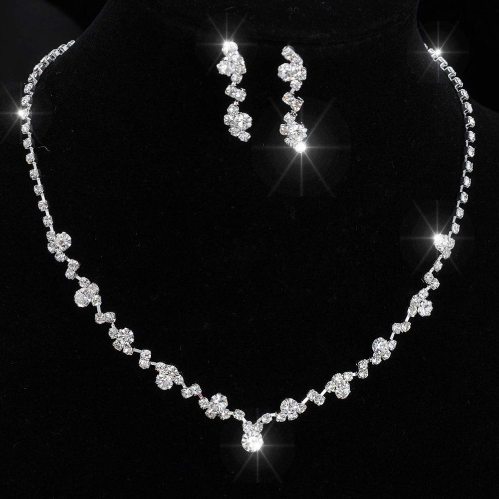 Wedding Bridal Formal Party Prom Chic Silver Crystal Bridal Bride Rinestone Necklace Earrings Wedding Jewelry Set