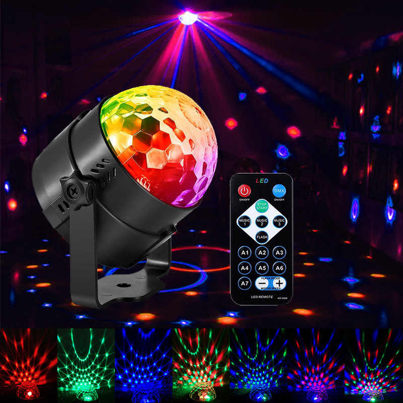 Laser Projector Sound Activated Rotating Disco Ball Party Strobe 3W RGB LED Stage Lights For Christmas Home KTV Wedding Show