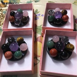 Sunligoo Seven Star Group Natural Amethyst Rose Quartz Chakra Crystal Sphere Ball & Black Obsidian Stand Healing Reiki Stone(China)