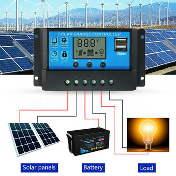 Auto Solar Controllers For Home 10A /20A /30A LCD MPPT Solar Panel Battery Regulator Charge Controller Dual USB With 5V/2A 20a tracer2210an max pv input 100v mppt controller with mt50 remote meter usb and temperature sensor