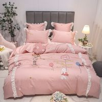 Cute rabbit embroidery Bedding Set King Queen Size 4/7pcs egyptian cotton Bed Linen Duvet Cover Bed Sheet Pillowcases for girls