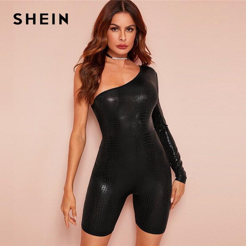SHEIN Black One Shoulder Crocodile Embossed Unitard Sexy Romper Women Spring Long Sleeve Skinny Glamorous Ladies Playsuits