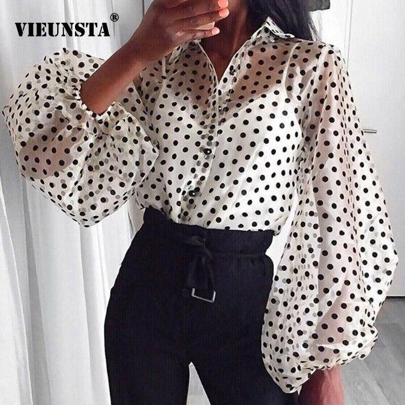 VIEUNSTA Women Mesh Sheer Blouse See-through Lantern Long Sleeve Blouse Fashion Polka Dot Button Transparent Shirt Female Blusas