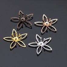 20 pièces ajourées en cuivre pour filigrane, connecteur de Base en fleurs, accessoires de cheveux pour la fabrication de bijoux, 20x20mm