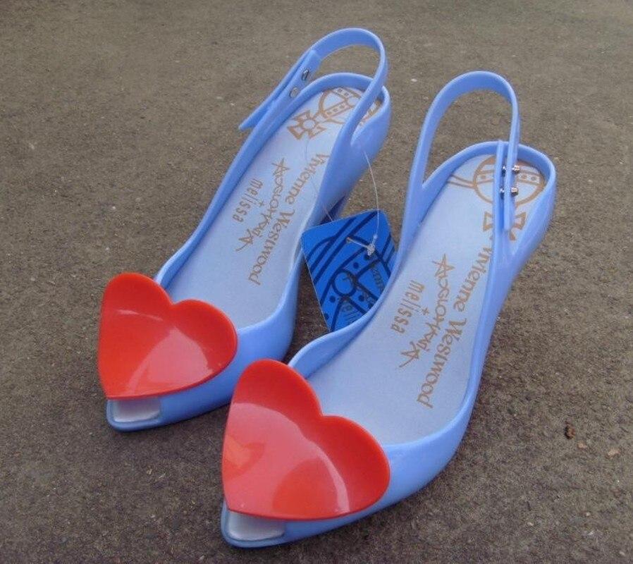 Womens Open Toe Heart Decor Stilettos High Heel Pumps Slingback Sandals Jelly Shoes Sexy Summer 6Colors Sweet C729