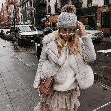 Maylofuer Россия мода Натуральная кожаная куртка из овчины для женщин из натурального меха лисы и тонкой шубы на зиму