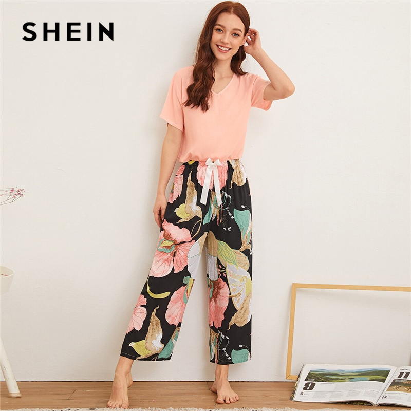 SHEIN Multicolor Floral Print Tie Front Pajama Set Women Summer Nightwear Short Sleeve V-neck Sleepwear PJ Pant Sets