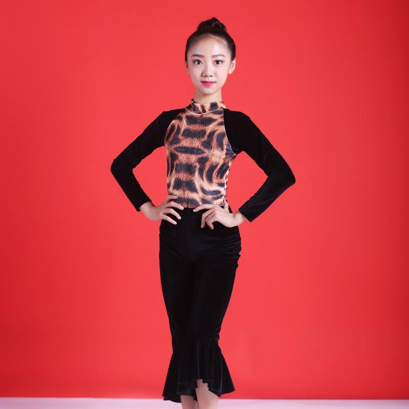 New Latin Dance Costumes Girls Practice Clothes Leopard Long Sleeve Shirt Black Pants Child Rumba/Samba/Tango Dancewear DQL2848