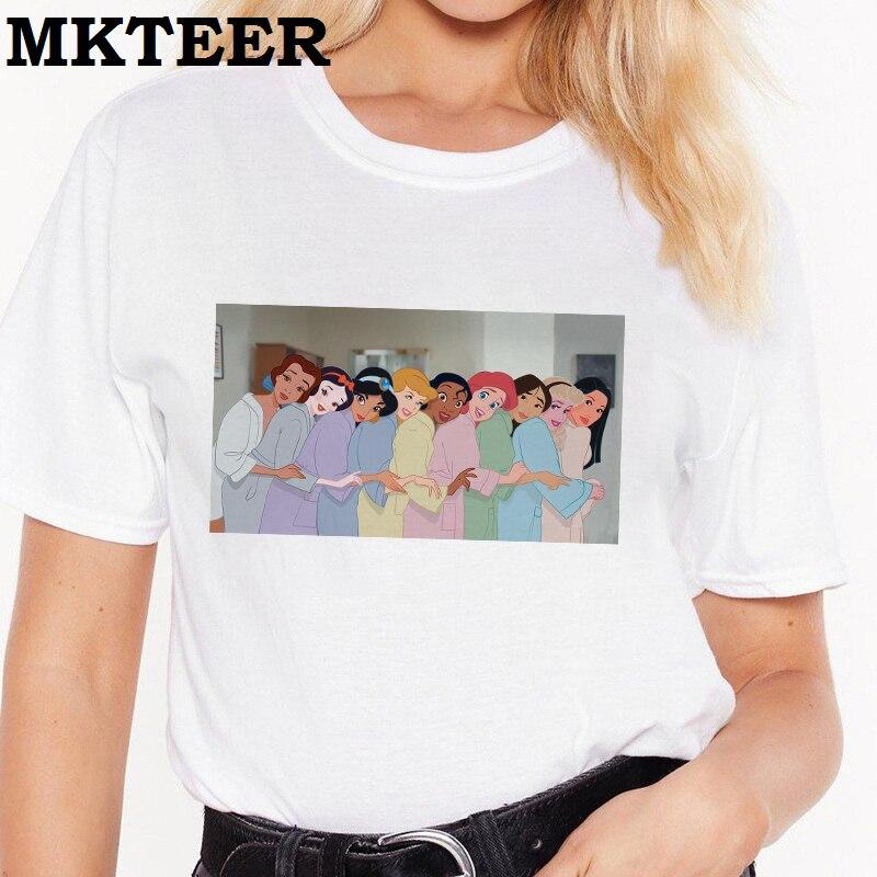 New Arrival Women 2019 Casual Vogue Summer Tee Shirt Femme Harajuku T Shirt Princess Pajamas Party Print Camiseta Mujer