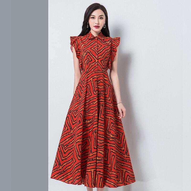 Mujer Sleeveless Plus Size Casual Turndown Collar Dress High Waist Chiffon Fashion All Match Office Summer   Women Female New 4