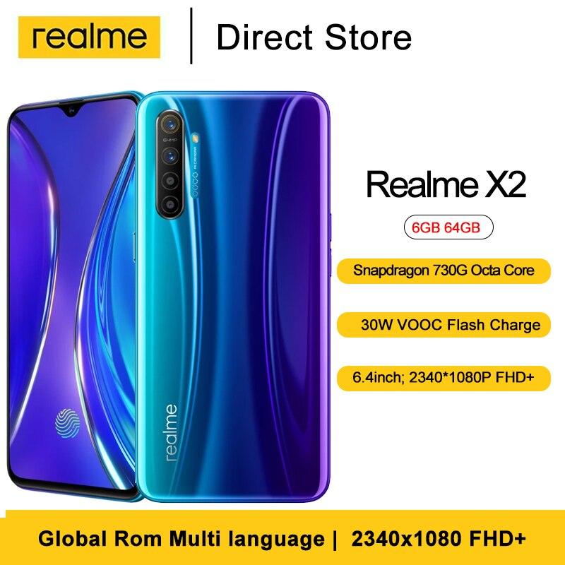 Realme için X2 Smartphone 6GB 64GB 32MP ön kamera Snapdragon 730G Octa çekirdek 6.4 30W VOOC opfo hızlı şarj 4000mAh cep telefonu