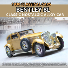 1:28 Classic car model Bentley 8L antique sound and light ornaments re collection gift pull-back vehicle
