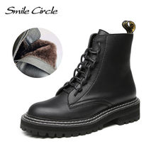 Lächeln Kreis stiefeletten Frauen Echtes Leder Mode Der Britischen art Der Plattform Schuhe Frauen winter Pelz warme stiefel Damen Booties(China)
