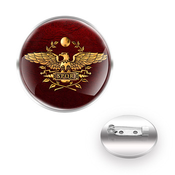 Classic SPQR Roman Empire Brooches Decoration Collar Pin Glass Convex Dome Women Men Accessories Gift image